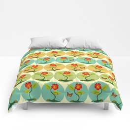 Flowers and bubbles pattern Comforters