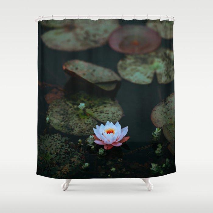 86dd58b25 Dark Sensual Lily Pad Pond White Lotus Flower Shower Curtain by ...