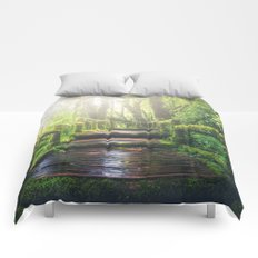 Green Jungle Forest Path Comforters