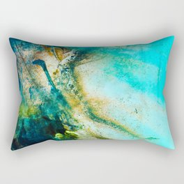 STORMY TEAL ABSTRACT PAINTING Rectangular Pillow