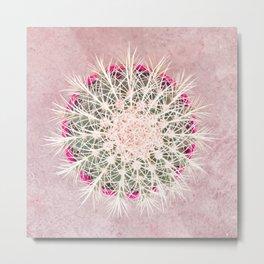 Cactus mandala - blush concrete Metal Print