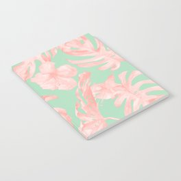 Tropical Palm Leaves Hibiscus Pink Mint Green Notebook