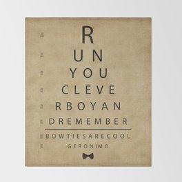 Run You Clever Boy - Doctor Who Inspired Vintage Eye Chart Throw Blanket