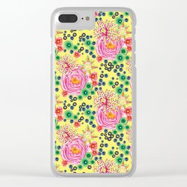 Tropical bold botanical hand-painted roses on pink yellow summer spring background Clear iPhone Case