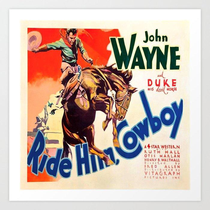 John Wayne Ride Em Cowboy Vintage Movie Poster Print Kunstdrucke