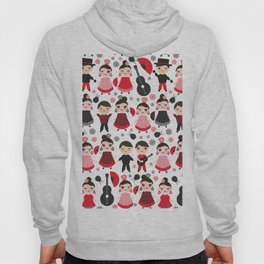 Seamless pattern spanish flamenco dancer. Kawaii cute face with pink cheeks and winking eyes. Hoody