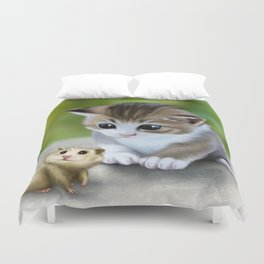cute kitty and hamster Duvet Cover