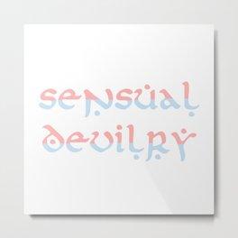Sensual Devilry Pink Blue Metal Print