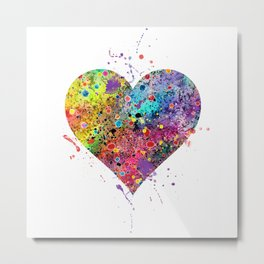 Heart Watercolor Art Love Gift Valentine's Day Gift Wedding Art Engagement Gift Metal Print