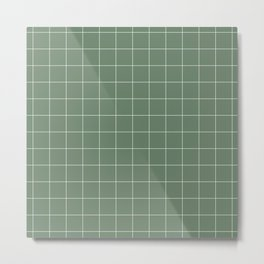 Windowpane Check Grid (white/sage green) Metal Print