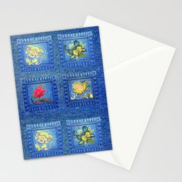 Denim Square Patches Stationery Cards