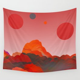 """Coral Pink Sci-Fi Mountains"" Wall Tapestry"
