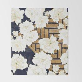 Navy Herringbone with Peony Flowers Print Throw Blanket