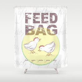 "FEED BAG ""Cluck Cluck"" Color Kitchen Print Shower Curtain"