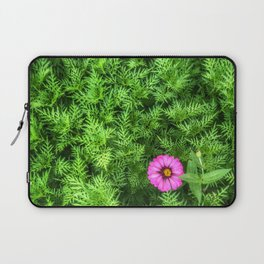 Top view of Yellow cosmos or Sulfur cosmos bush with a blooming pink Zinnia flower. Laptop Sleeve