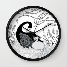 Black Swan and Moonlark Wall Clock