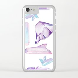 Mystical Crystals Pattern Clear iPhone Case