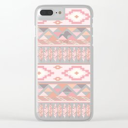 Pink Boho Tribal Aztec Clear iPhone Case