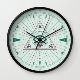 Evil Eye Mandala – Mint Wall Clock