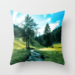 Green fields, trees and a magical brook Throw Pillow