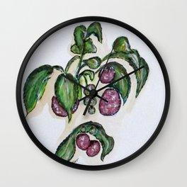 Hanging Raspberries Wall Clock