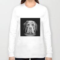 rottweiler Long Sleeve T-shirts featuring Rottweiler Drawing By Annie Zeno by Annie Zeno