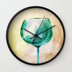 green wine glass Wall Clock