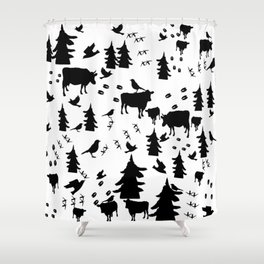 Cow Out In the Pasture by Lorloves Design Shower Curtain