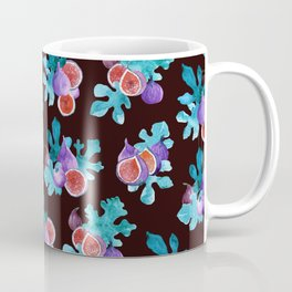 Watercolor Figs Fruit and Leaves Coffee Mug