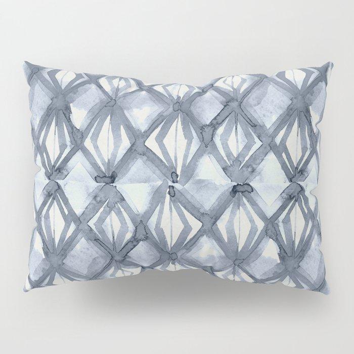 Braided Diamond Indigo Blue on Lunar Gray Pillow Sham