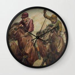 Vintage Finish Line Horse Jockeys Illustration (1891) Wall Clock