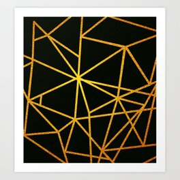 Gold Lines On Black Art Print
