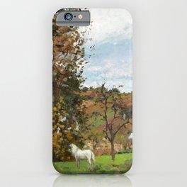 """Camille Pissarro """"Paysage avec cheval blanc dans un pré, L'Hermitage, Pontoise"""" iPhone Case"""
