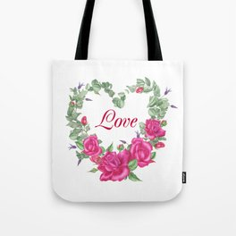 Floral wreath with rose and leaves in heart form Tote Bag