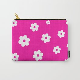 White Flowers On Pink Background Carry-All Pouch