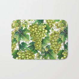 Watercolor bunches of white grapes hanging on the branch Bath Mat