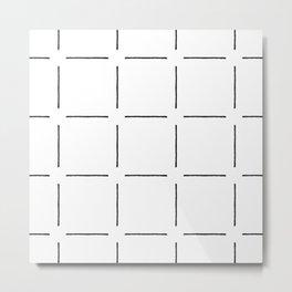 Block Print Simple Squares in Black & White Metal Print
