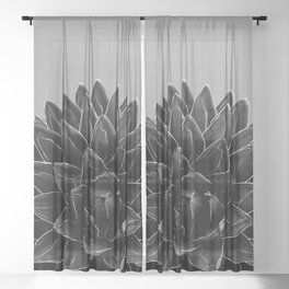 Gray Black Agave Chic #1 #succulent #decor #art #society6 Sheer Curtain