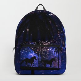 Galloping horses under starry sky Backpack
