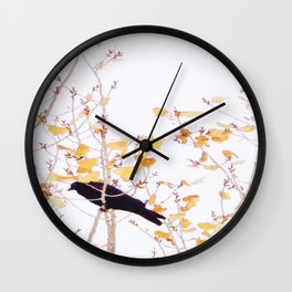 Holidaze Golden Crow high in golden leaves Wall Clock