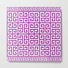 Greek Key (Purple & White Pattern) Metal Print