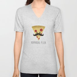 Popparoni Pizza Unisex V-Neck