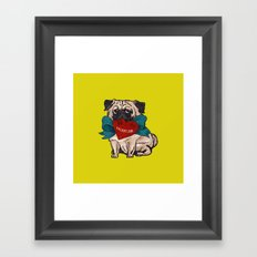 Be My Valentine Pug Framed Art Print