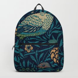 Vintage Bird Couple Pattern by William Morris Backpack