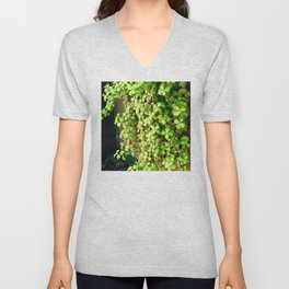 Green Leaves By Stucco Wall Unisex V-Neck