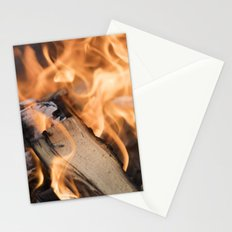 logs on the fire Stationery Cards