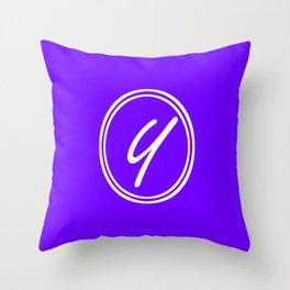 Monogram - Letter Y on Indigo Violet Background Throw Pillow