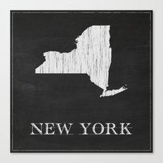 New York State Map Chalk Drawing Canvas Print