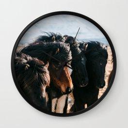 Horses in Iceland - Wildlife animals Wall Clock