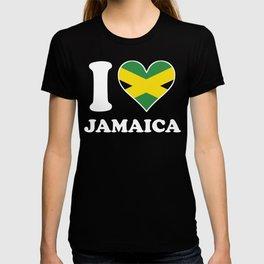 I Love Jamaica Jamaican Flag Heart T-shirt